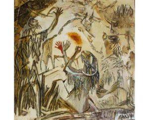 """""""Summer of a paleolith"""" 2018 Acrylic on canvas, 100х100сm 8.000 ₪"""