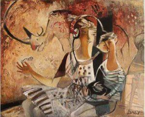 """Woolly rhinoceros ""2017 Acrylic on canvas 100х80cм 10,000,₪"
