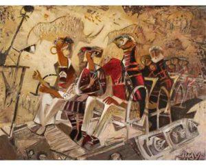 """Train in Ruffinyak"" 2017 Acrylic on canvas 120x90cм 15,000 ₪"